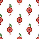 Seamless vector pattern with fruits. Symmetrical background with cherries and leaves on the white backdrop Royalty Free Stock Image