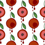 Seamless vector pattern with fruits. Symmetrical background with cherries and leaves on the white backdrop. Series of Fruits and Vegetables Seamless Patterns Stock Image