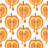 Seamless vector pattern with fruits. Symmetrical background with closeup apples on the white backdrop Stock Image