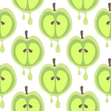 Seamless vector pattern with fruits. Symmetrical background with closeup green apples on the white backdrop. Series of Fruits and Vegetables Seamless Patterns Stock Image