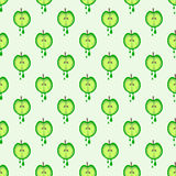 Seamless vector pattern with fruits. Symmetrical background with green apples. Stock Image