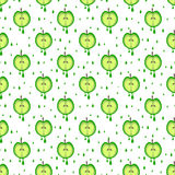 Seamless vector pattern with fruits. Symmetrical background with green apples on the white backdrop. Royalty Free Stock Images