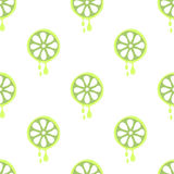 Seamless vector pattern with fruits. Symmetrical background with limes on the white backdrop. Stock Photo