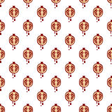 Seamless vector pattern with fruits. Symmetrical background with pomegranates on the white backdrop Stock Images