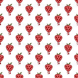 Seamless vector pattern with fruits. Symmetrical background with strawberries on the white backdrop. Royalty Free Stock Image