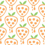 Seamless vector pattern with fruits. Symmetrical background with strawberries on the white backdrop. Royalty Free Stock Photography