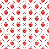 Seamless vector pattern with fruits. Symmetrical background with strawberries on the white backdrop. Stock Image