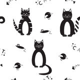Seamless vector pattern with funny black cats Royalty Free Stock Images