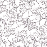 Seamless vector pattern with funny cats. royalty free illustration