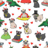 Seamless vector pattern with funny dogs. stock illustration