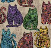 Seamless vector pattern with funny ornamental cats. Stock Images