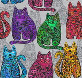 Seamless vector pattern with funny ornamental cats. Royalty Free Stock Photography