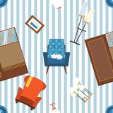 Seamless vector pattern of furniture and elements of 70's. Royalty Free Stock Images