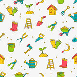 Seamless vector pattern of garden tools Stock Photography