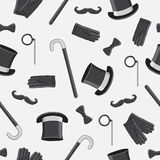 Seamless vector pattern of the gentlemen's icons Stock Image