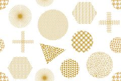 Modern golden print with crosses, hexagons, triangles and circles. Seamless vector pattern with geometric motifs. Abstract background with golden ornaments Royalty Free Illustration