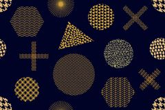 Modern golden print with crosses, hexagons, triangles and circles. Seamless vector pattern with geometric motifs. Abstract background with golden ornaments Stock Illustration