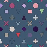 Seamless vector pattern. geometrical background with hand drawn decorative elements. Print with cross, square, triangle, rectangle. Circle. Graphic stock illustration