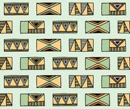 Seamless vector pattern. Geometrical background with hand drawn decorative tribal elements in brown colors. Print with ethnic, fol Stock Photography