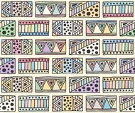 Seamless vector pattern. geometrical background with hand drawn decorative tribal elements. Print with ethnic, folk, traditional stock illustration