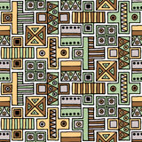 Seamless vector pattern. Geometrical background with hand drawn decorative tribal elements in vintage brown colors. Print with eth Royalty Free Stock Photo
