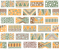 Seamless vector pattern. Geometrical background with hand drawn decorative tribal elements in vintage brown colors. Print with eth. Nic, folk, traditional motifs Stock Photos