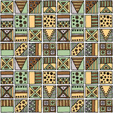 Seamless vector pattern. Geometrical background with hand drawn decorative tribal elements in vintage brown colors. Print with eth Royalty Free Stock Images