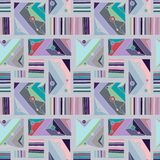 Seamless vector pattern. geometrical hand drawn background with rectangles, squares, triangles, dots, lines. Print for wallpaper, stock illustration