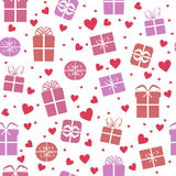 Seamless vector pattern, gift boxes with hearts. Seamless vector gift pattern, gift boxes with hearts. Valentines day background Royalty Free Stock Image