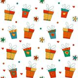 Seamless vector pattern with gift boxes, stars and Royalty Free Stock Images