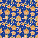 Seamless Vector Pattern with Gingerbread in Flat Style Royalty Free Stock Image