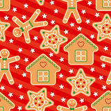 Seamless Vector Pattern with Gingerbread in Flat Style Stock Photo
