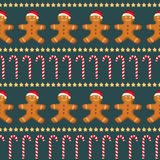 Seamless vector pattern with Gingerbread man, candy cane and stars for new year's day, christmas, winter holiday, cooking, new yea Royalty Free Stock Image