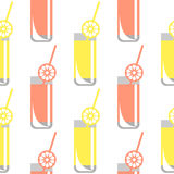 Seamless vector pattern with glasses with juice, oranges and lemons on the white background. Stock Images