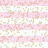 Seamless vector pattern with glittering dots on pink stripes. Bright holidays stripes background. Golden glitter pattern. Metalli. C foil background effect vector illustration