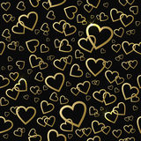 Seamless vector pattern with gold shining hearts Stock Photography