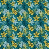 Seamless vector floral pattern with tropical orchids stock illustration