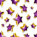 Seamless vector pattern with golden stars Stock Photography