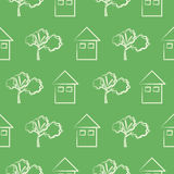 Seamless vector pattern, green background with houses and trees Royalty Free Stock Images
