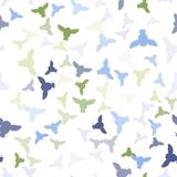 Seamless vector pattern with green, blue, grey owls. stock photo