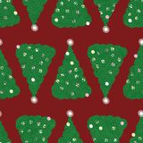 Seamless vector pattern with green christmas trees on red background vector illustration