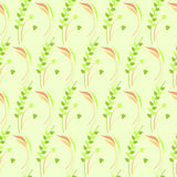 Seamless vector pattern, green floral symmetrical background with leaves and grass Stock Photos