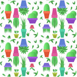 Seamless vector pattern with green leaves and pots with houseplants Royalty Free Stock Photo
