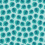 Seamless vector pattern green tropical monstera leaves aqua Stock Images