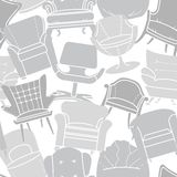 Seamless vector pattern of grey armchairs Royalty Free Stock Photo