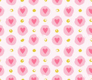 Seamless vector pattern with grunge hearts and dots. Love background for Valentine`s day. Seamless bright romantic ink design for fabric or wrap paper Royalty Free Stock Photo
