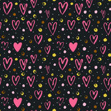 Seamless vector pattern with grunge hearts and dots. Love background for Valentine`s day. Seamless bright romantic ink design for fabric or wrap paper Royalty Free Stock Image