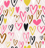 Seamless vector pattern with grunge hearts. Love background for Valentine`s day. Seamless bright romantic ink design for fabric or wrap paper Royalty Free Stock Photos