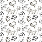 Seamless vector pattern with hand drawn air balloons, bows, gifts, cake, candy on the white background. Series of Cartoon, Doodle, Sketch and Hand drawn Royalty Free Stock Photo