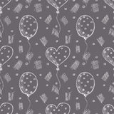 Seamless vector pattern with hand drawn air balloons on the grey background Royalty Free Stock Photo